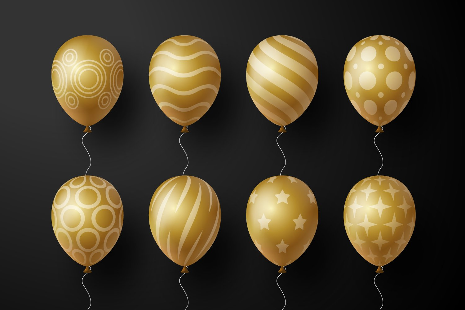Luxury balls in gold color with various geometric shapes.