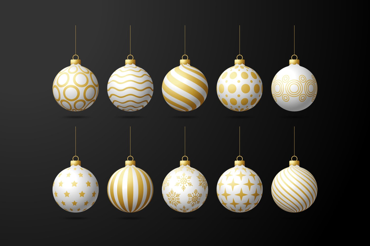 Black background and white Christmas decorations with golden lines and geometric shapes.