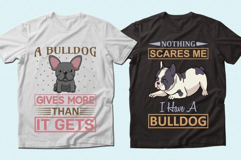 Bulldog yoga on the t-shirts.