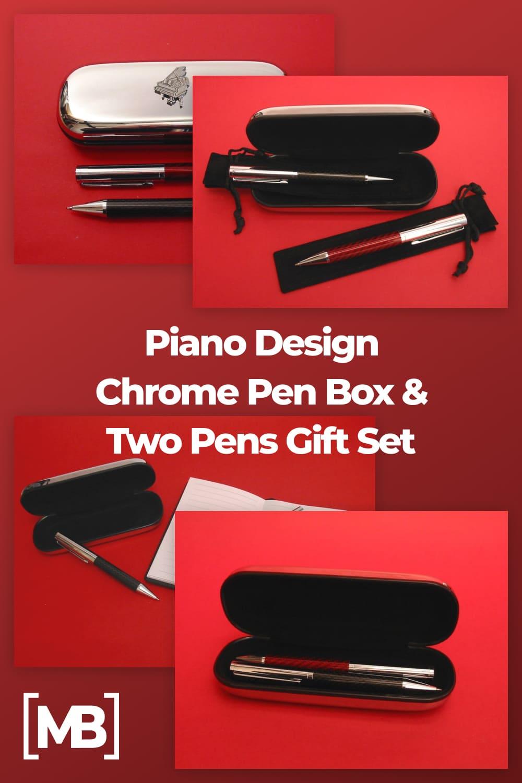 Piano design chrome pen box.