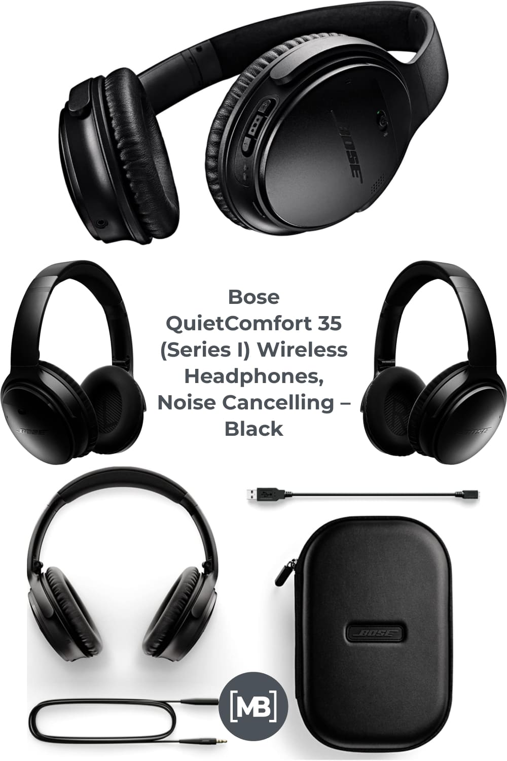Bose QuietComfort 35 (Series I) Wireless Headphones provide balanced audio performance no matter how noisy your commute is, and clear calls even on a bustling, windy street.