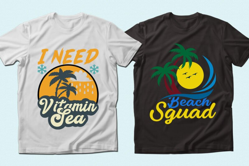 Black and white t-shirts with tropic illustrations.
