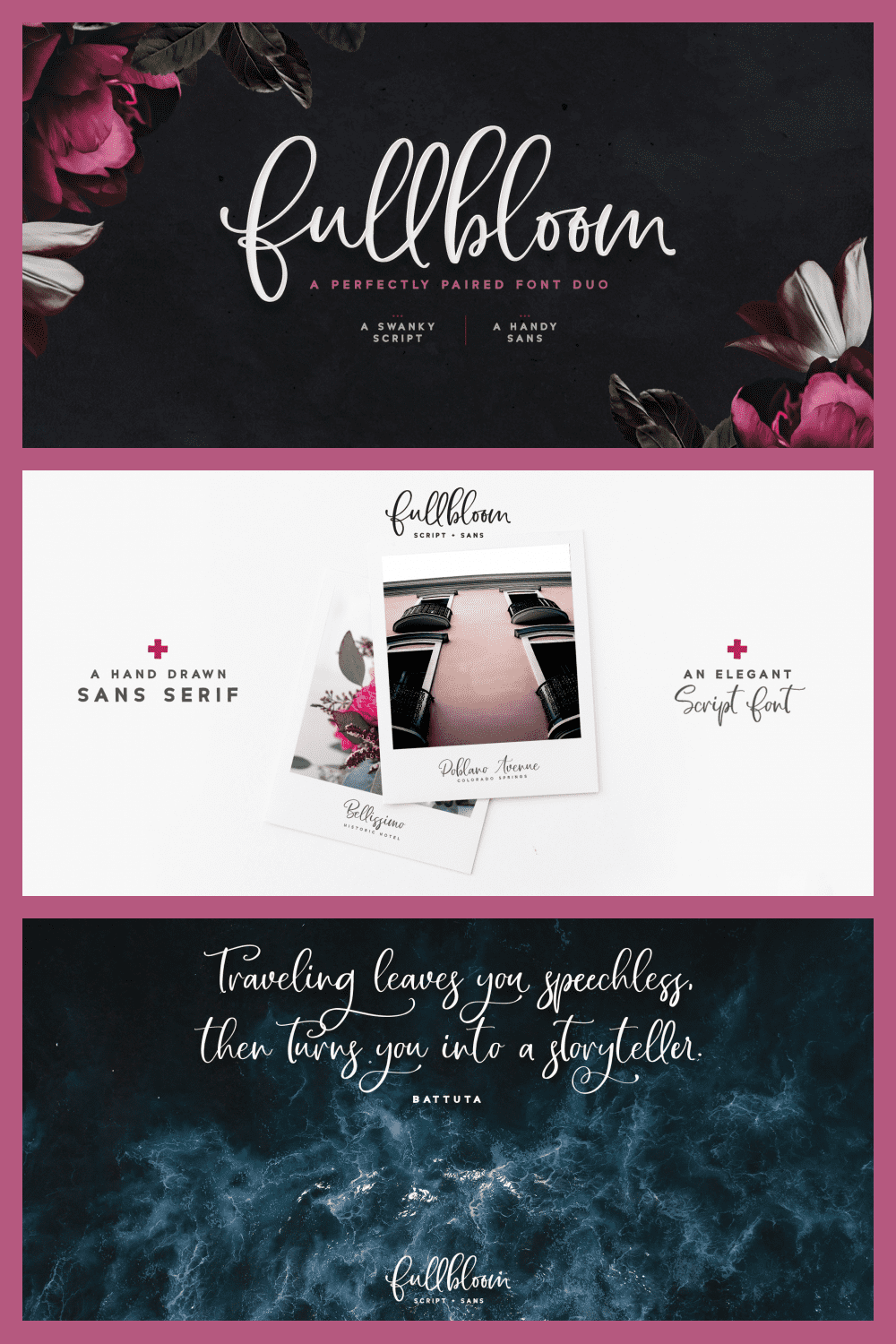 It is a blooming, relaxed and fragrant font.