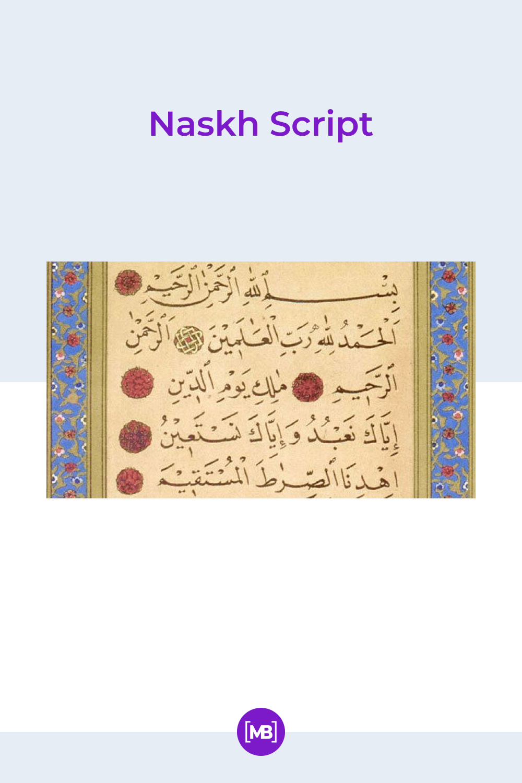 Naskh script.