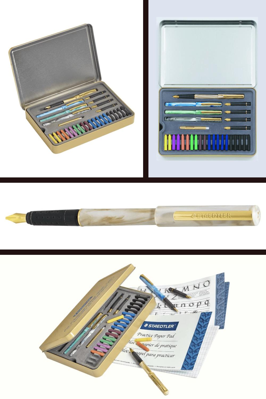 Calligraphy pen set in convenient, travel ready metal storage tin.