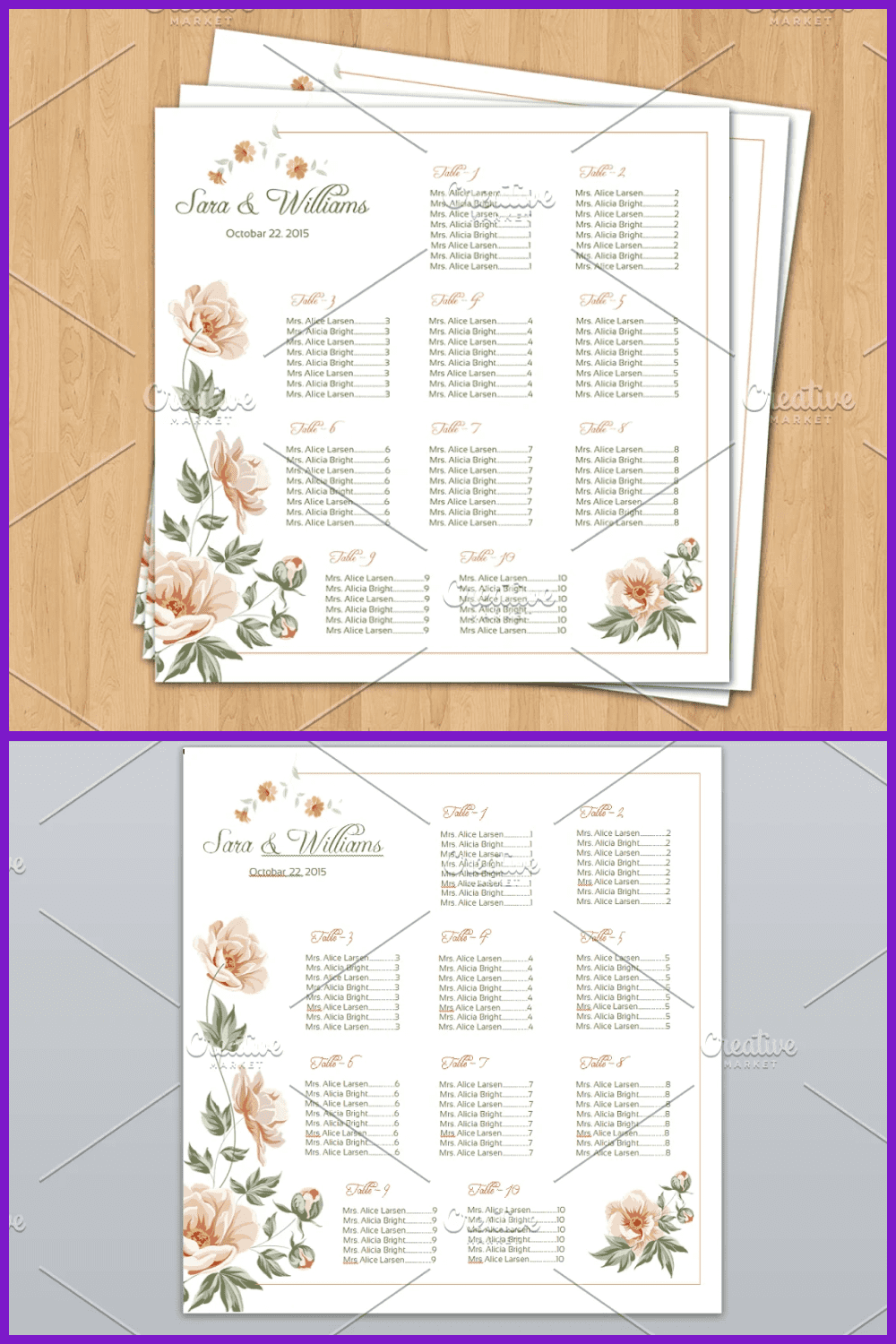 This elegant plan is for a big wedding.