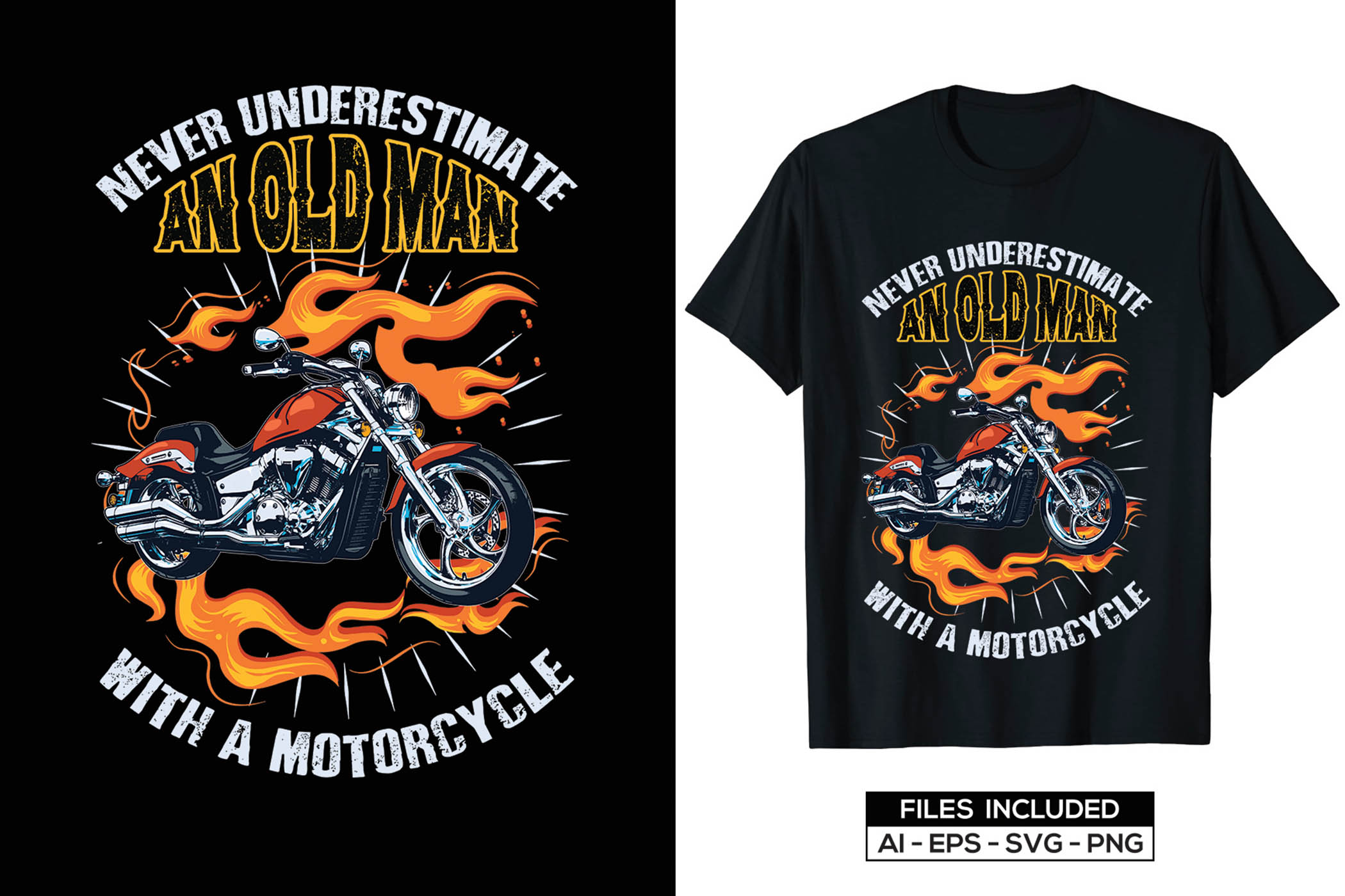 The motorcycle is on fire. It looks impressive and memorable.