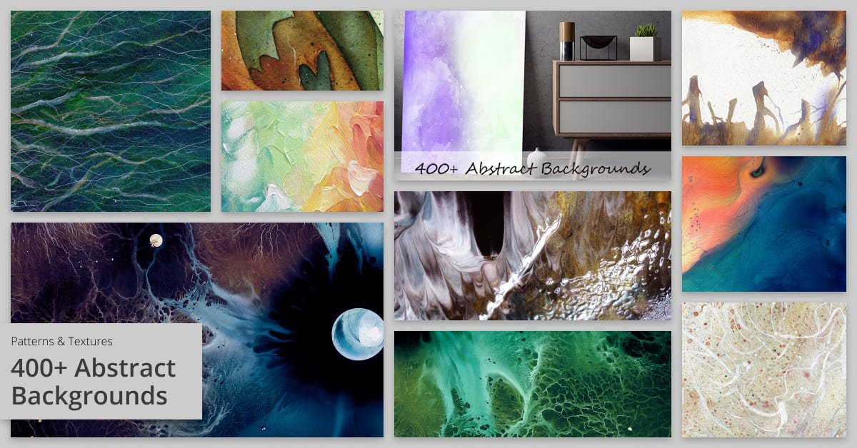 Artistic background with abstract shapes and watercolor stains.