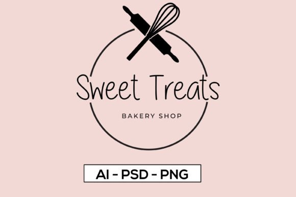 A logo with cookery attributes - with a whisk and a rolling pin.