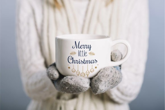 White mug with a festive inscription and bright illustrations.