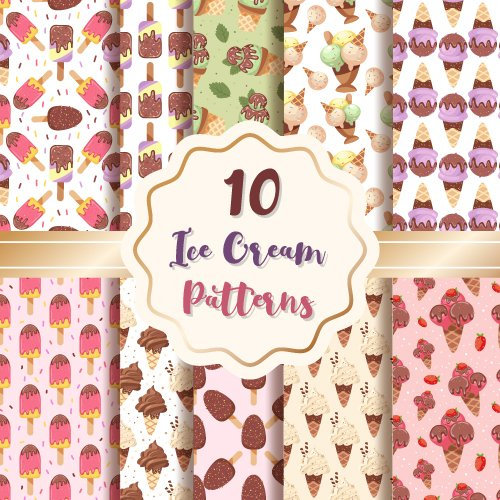 Ice Cream Patterns Digital Paper Set Example.