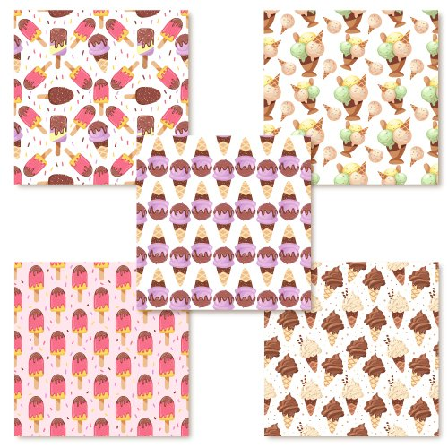 Colorful tile with ice cream print