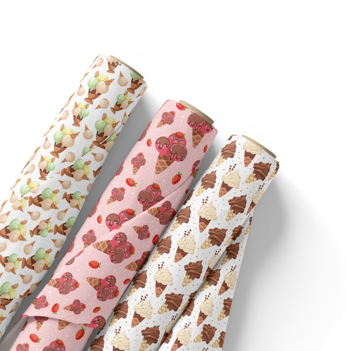 Wrapper  with ice cream print.