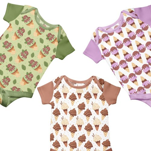 Children clothes with ice cream print.