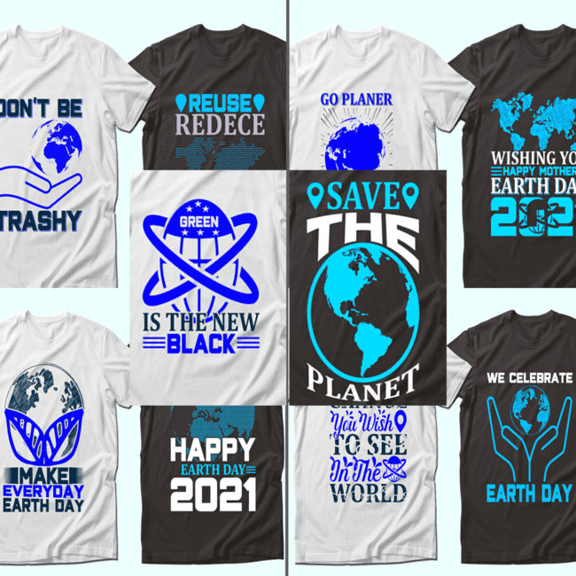 Earth Day Quotes T shirt Designs cover image.