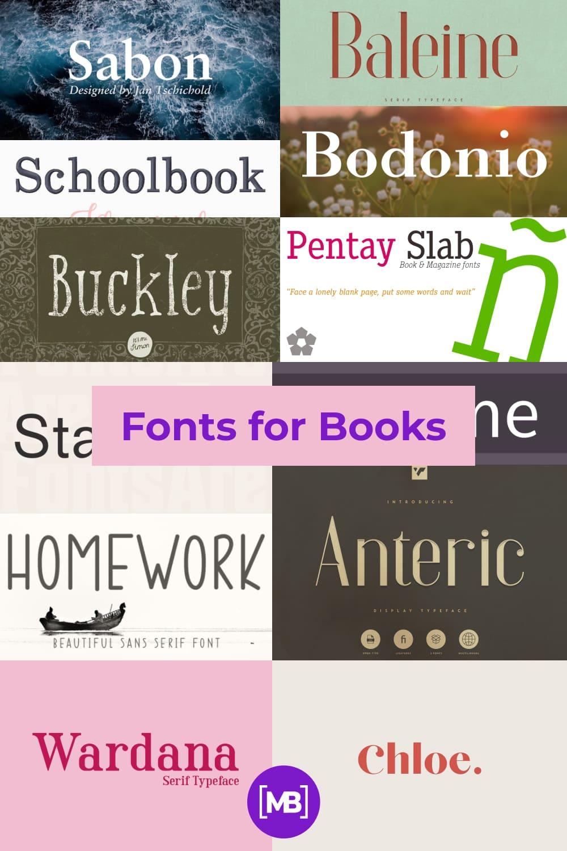 Fonts for Books Pinterest.