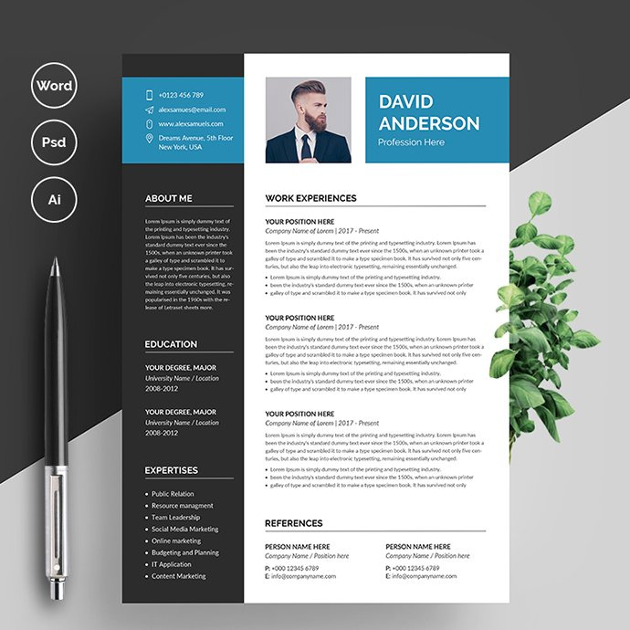 Professional Resume CV Template main cover.