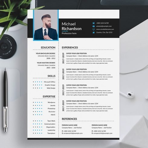 Word Resume CV Template With Cover Letter main image.