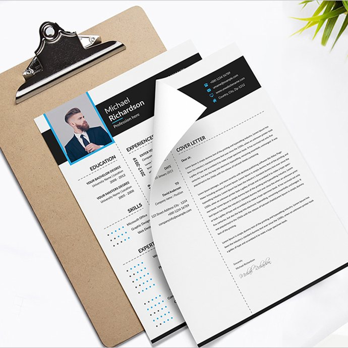 Word Resume CV Template With Cover Letter cover image.