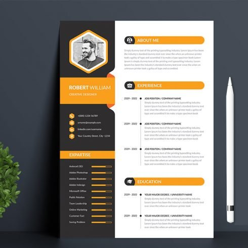 Modern Resume Template preview image.