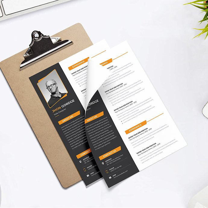 Minimal Resume template cover image.