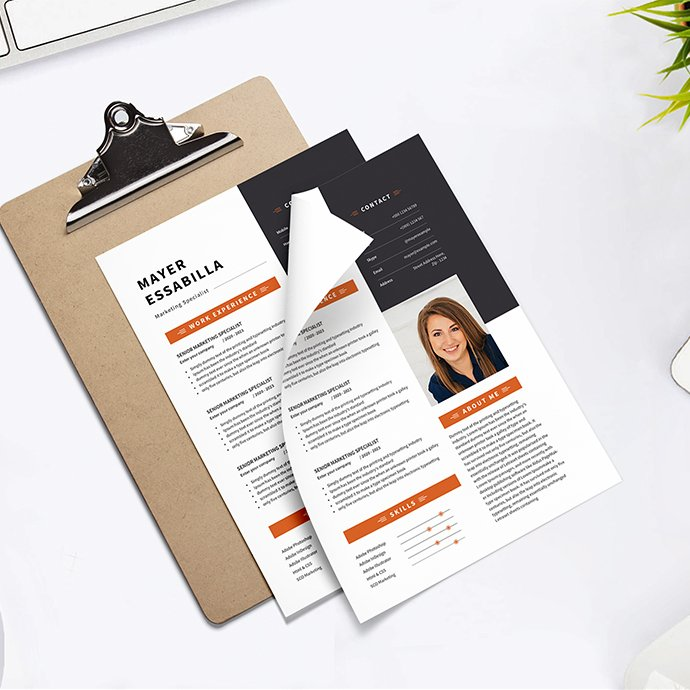Resume CV two-colored cover image.