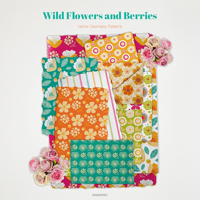 Wild Flowers and Berries Vector Patterns main cover.