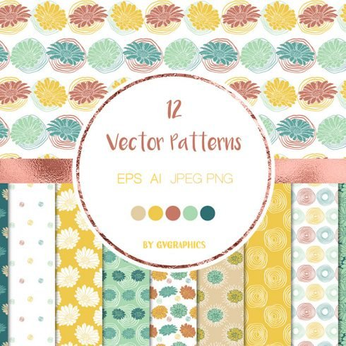 Colorful Flowers and Doodles Vector Patterns and Seamless Tiles main cover.