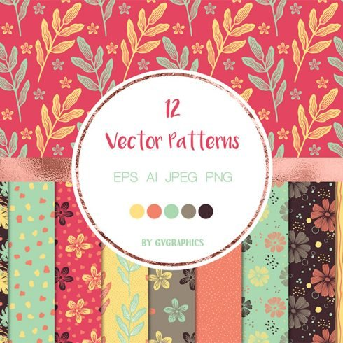 Flowers and Doodles Vector Patterns main cover.