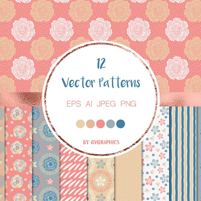 Blue and Pink Nature Vector Patterns main cover.