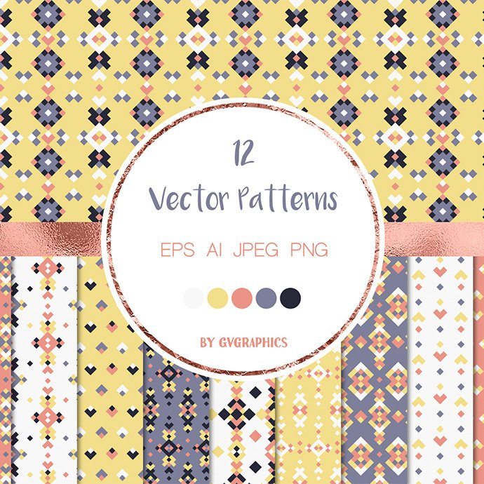 Colorful Geometric Tribal Vector Patterns and Seamless Tiles main cover.