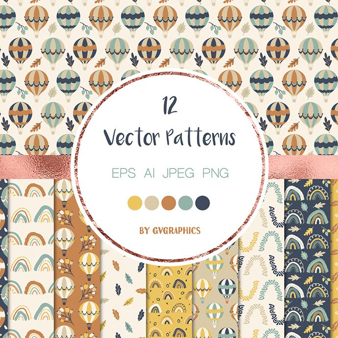 Autumn Air Baloons, Rainbows and Leaves Vector Patterns and Seamless Tiles main cover.