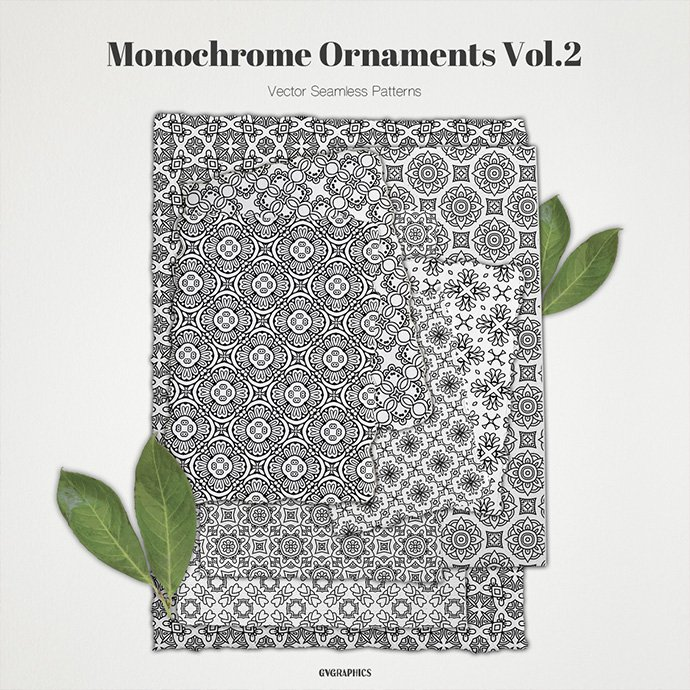 Monochrome Ornaments Vector Patterns Vol.2 main cover.