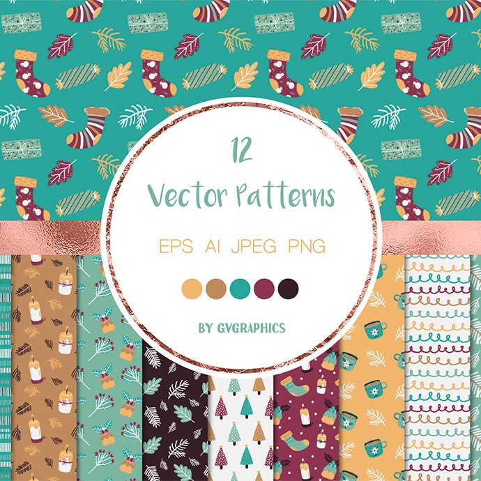 Christmas Winter Vector Patterns main cover.