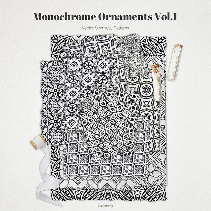 Monochrome Ornaments Vector Patterns Vol.1 main cover.