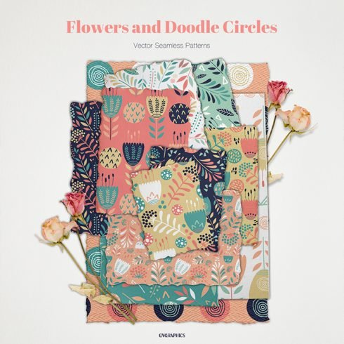 Flowers and Doodle Circles Vector Patterns main cover.