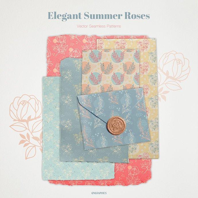 Elegant Summer Roses Vector Patterns main cover.