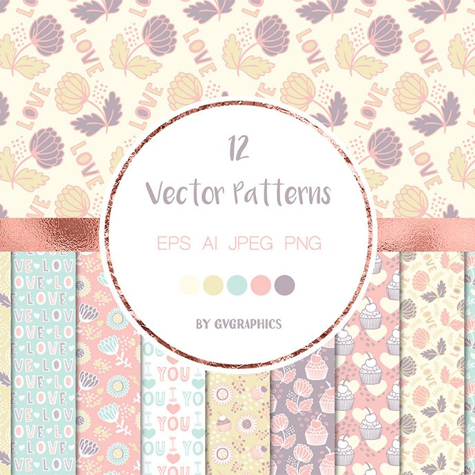 Happy Valentine's Day Vector Patterns and Seamless Tiles main cover.