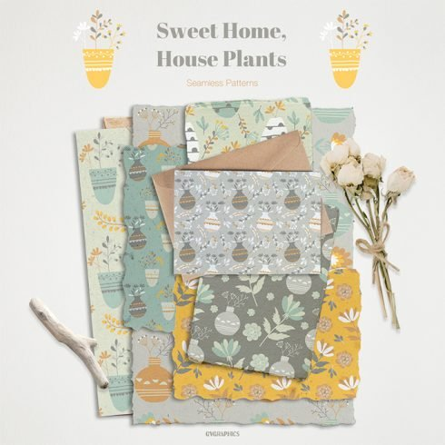 Sweet Home, House Plants Seamless Patterns main cover images.