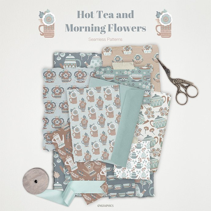 Hot Tea and Morning Flowers Seamless Patterns main cover.