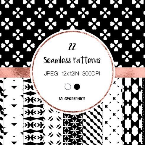 Black and White Simple Abstract Seamless Patterns Example.