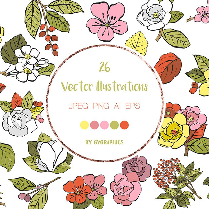 Hand Drawn Vector Spring Flowers main cover.