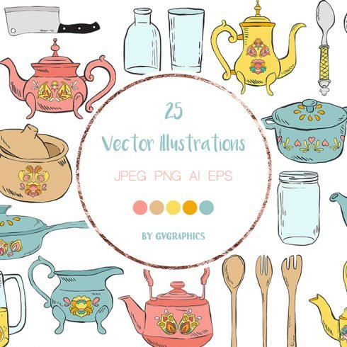 Hand Drawn Kitchen Utensils Vector Illustrations Example.