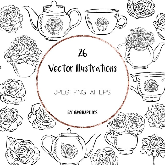 Hand drawn Tea cups, Teapots and Roses Vector Illustrations main cover.