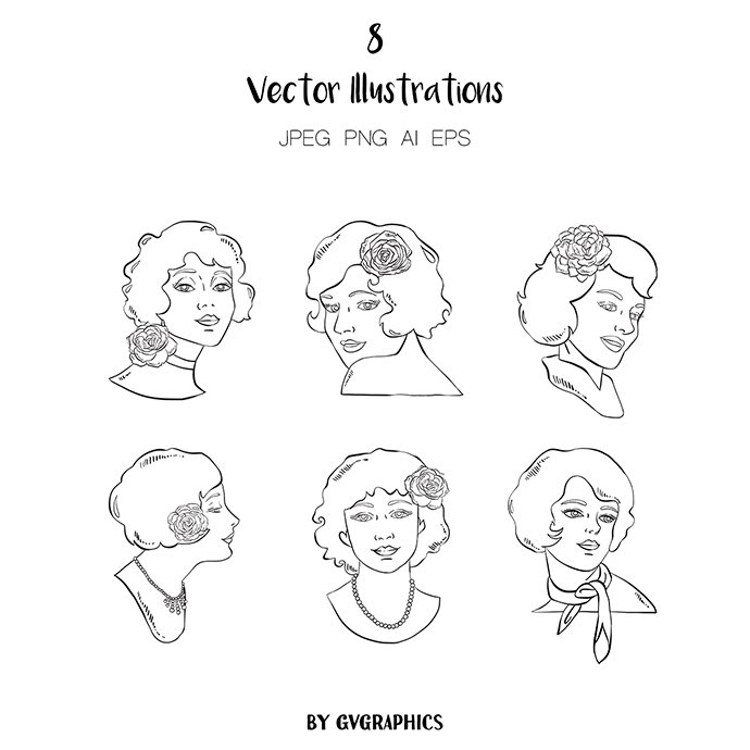 Hand Drawn Retro Women Vector Illustrations main cover.