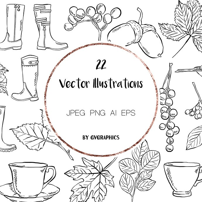 Hand Drawn Birds, Leaves, Berries, Boots and Tea cups Vector Illustrations main cover.