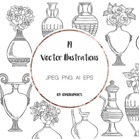 Hand drawn Vintage Vases and Flowers Vector Illustrations main cover.