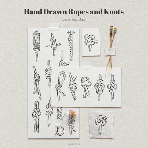 Hand Drawn Ropes and Knots Vector Illustrations main cover.