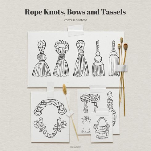 Rope Knots, Bows and Tassels Vector Illustrations main cover.