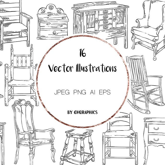Hand Drawn Sweet Home Vector Illustrations main cover.